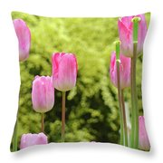 Tulip Garden Landscape Art Prints Pink Tulips Floral Baslee Troutman Throw Pillow
