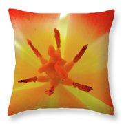 Tulip Inside Flower Orange Tulips Art Prints Baslee Throw Pillow