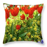 Tulip Lawn On The Flower Island Mainau. Germany. Throw Pillow