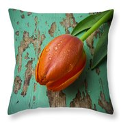 Tulip On Old Green Table Throw Pillow