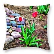 Tulip Rock Garden Throw Pillow