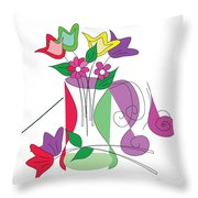 Tulip - Scribble Collection Throw Pillow