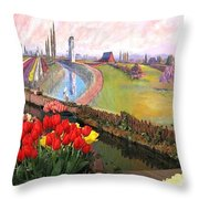 Tulip Town 21 Throw Pillow