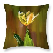 Tulip White Yellow Petals #h5 Throw Pillow