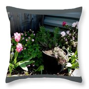 Tulips And Bluebells Throw Pillow