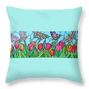 Tulips And Butterflies Throw Pillow