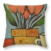 Tulips And Coffee Throw Pillow