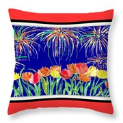 Tulips And Fireworks Throw Pillow