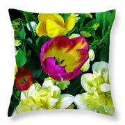 Tulips And Flowers  Throw Pillow