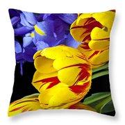 Tulips And Iris Throw Pillow