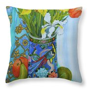 Tulips And Iris In A Japanese Vase, With Fruit And Textiles Throw Pillow