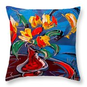 Tulips And Moon Throw Pillow