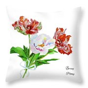 Tulips And Pink White Peony Throw Pillow