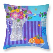 Tulips And White Lace Throw Pillow