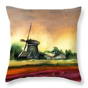Tulips And Windmill From The Netherlands Throw Pillow