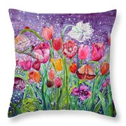 Tulips Are Magic In The Night Throw Pillow