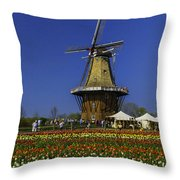 Tulips At The Windmill Throw Pillow