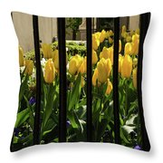 Tulips Behind Bars Throw Pillow