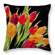 Tulips Colors Throw Pillow