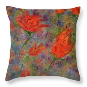Tulips- Floral Art- Abstract Painting Throw Pillow