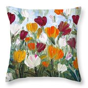 Tulips Garden Throw Pillow