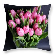 Tulips In A Glass Vase Throw Pillow