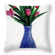 Tulips In A Tall Vase Throw Pillow