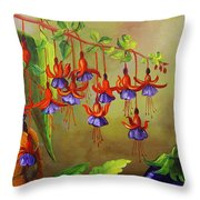 Tulips In A Vase With Some Tomatoes Throw Pillow