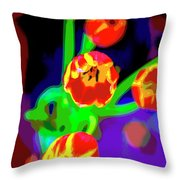 Tulips In Abstract Throw Pillow
