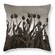 Tulips In Black And White Throw Pillow