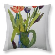 Tulips In Blue Vase Throw Pillow