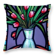 Tulips In Glass Vase Throw Pillow