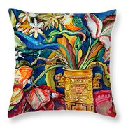 Tulips In Mexican Vase Throw Pillow
