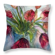 Tulips In Rosie's Vase Throw Pillow
