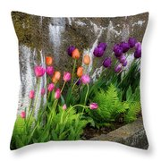 Tulips In Ruin Throw Pillow by Michael Hubley