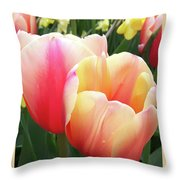 Tulips In Soft Pastels Throw Pillow
