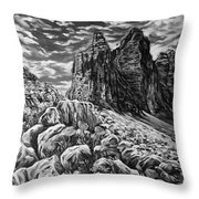 Tulips In The Alps Black And White Throw Pillow