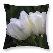 Tulips In The Rain Throw Pillow