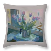 Tulips On A Window  Throw Pillow