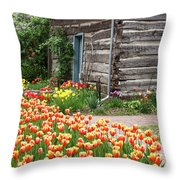 Tulips Lead To The Cabin Throw Pillow
