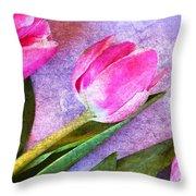 Tulips Meets Texture Throw Pillow