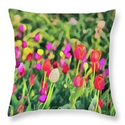 Tulips. Monet Style Digital Painting. Throw Pillow