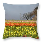 Tulips Morning Landscape Throw Pillow