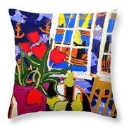 Tulips, Pears, Sailboats Throw Pillow