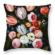Tulips Roses Peonies Throw Pillow