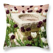 Tulips Surround The Bird Bath Throw Pillow
