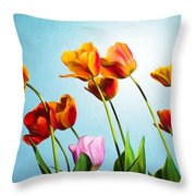 Tulips Throw Pillow by Trevor Wintle