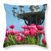 Tulips With Bartholdi Fountain Throw Pillow