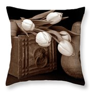 Tulips With Pear I Throw Pillow by Tom Mc Nemar