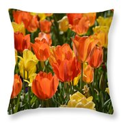 Tulips Yellow And Tangerine Throw Pillow